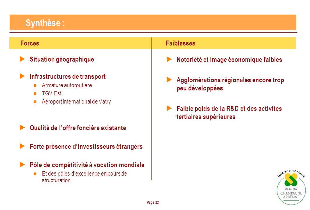 Page 22 Situation géographique Infrastructures de transport Armature autoroutière TGV Est Aéroport international de Vatry Qualité de loffre foncière e