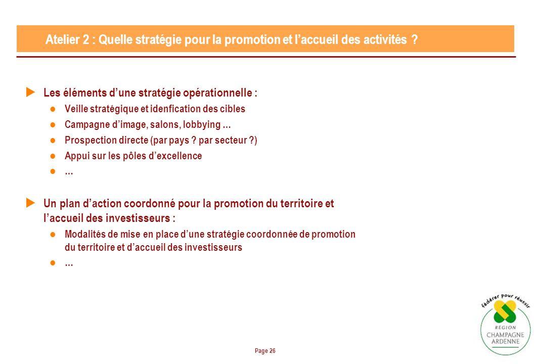 Page 26 Atelier 2 : Quelle stratégie pour la promotion et laccueil des activités ? Les éléments dune stratégie opérationnelle : Veille stratégique et
