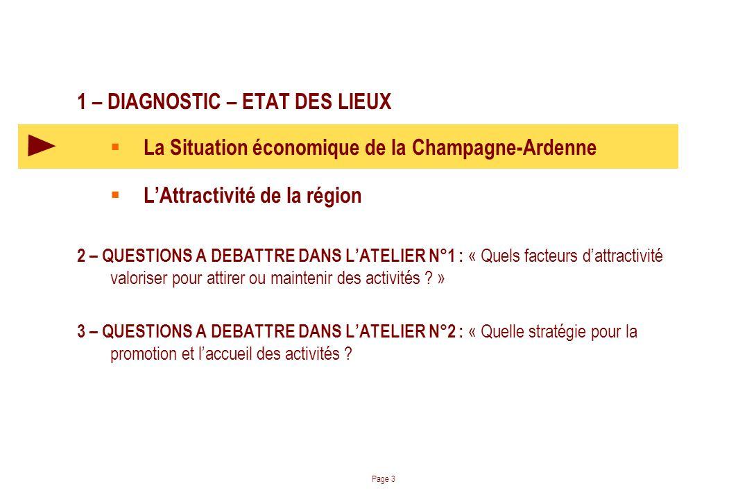 1 – DIAGNOSTIC – ETAT DES LIEUX La Situation économique de la Champagne-Ardenne LAttractivité de la région 2 – QUESTIONS A DEBATTRE DANS LATELIER N°1 : « Quels facteurs dattractivité valoriser pour attirer ou maintenir des activités .