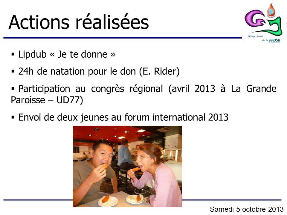 Actions réalisées Lipdub « Je te donne » 24h de natation pour le don (E. Rider) Participation au congrès régional (avril 2013 à La Grande Paroisse – U