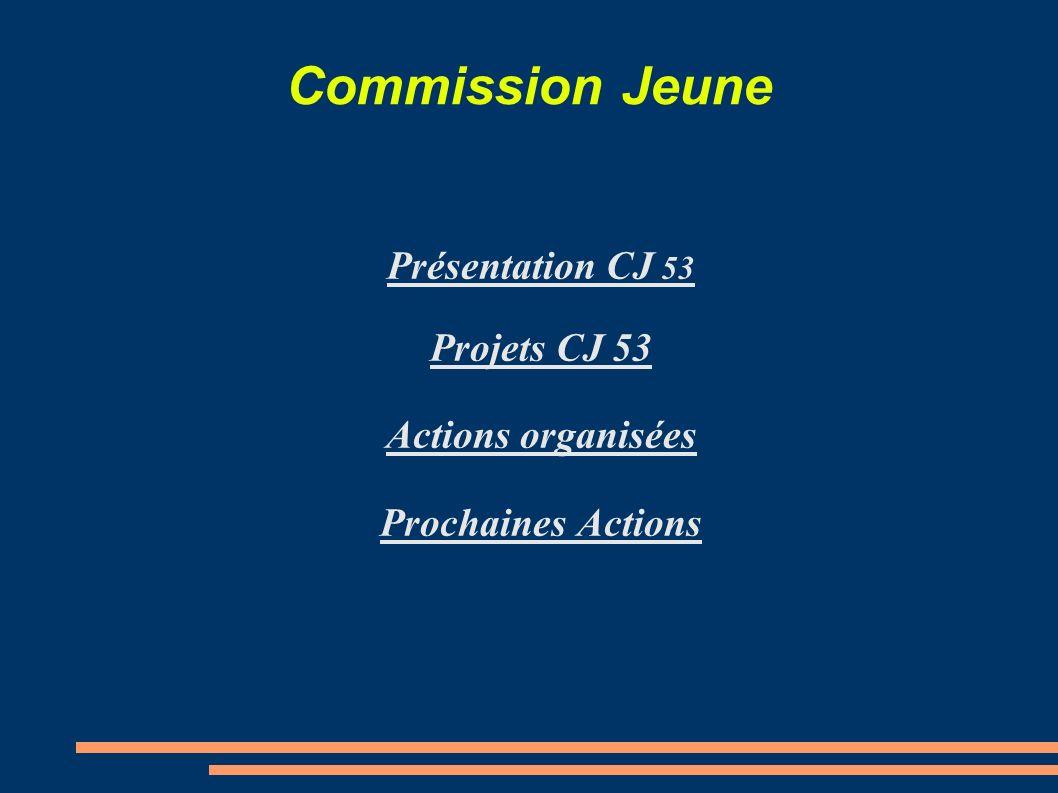 Commission Jeune Présentation CJ 53 Projets CJ 53 Actions organisées Prochaines Actions