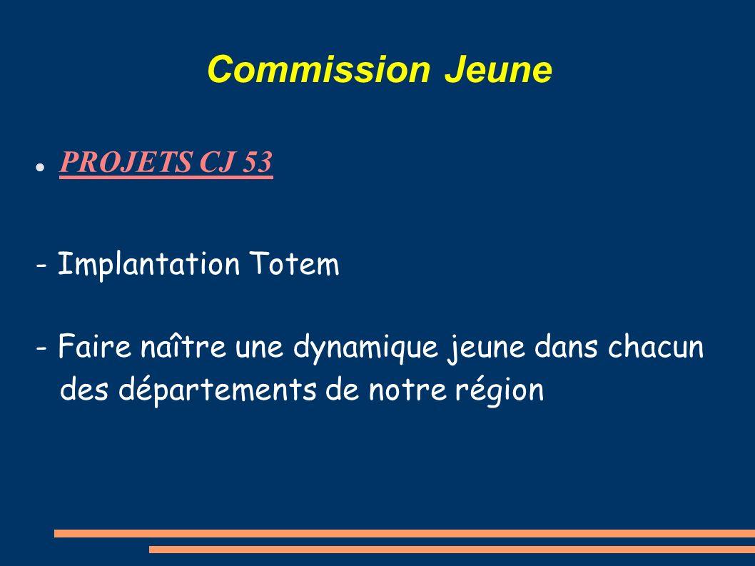 Commission Jeune PROJETS CJ 53 - Implantation Totem - Faire naître une dynamique jeune dans chacun des départements de notre région