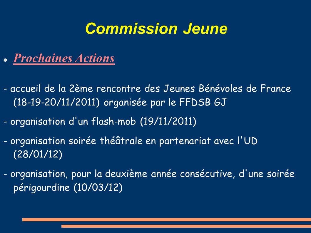 Commission Jeune Prochaines Actions - accueil de la 2ème rencontre des Jeunes Bénévoles de France (18-19-20/11/2011) organisée par le FFDSB GJ - organisation d un flash-mob (19/11/2011) - organisation soirée théâtrale en partenariat avec l UD (28/01/12) - organisation, pour la deuxième année consécutive, d une soirée périgourdine (10/03/12)