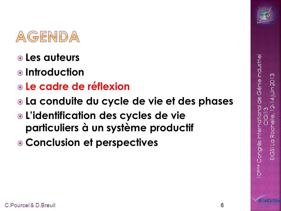 10 ème Congrès International de Génie Industriel CIGI13 EIGSI La Rochelle, 12-14 juin 2013 Les auteurs Introduction Le cadre de réflexion La conduite