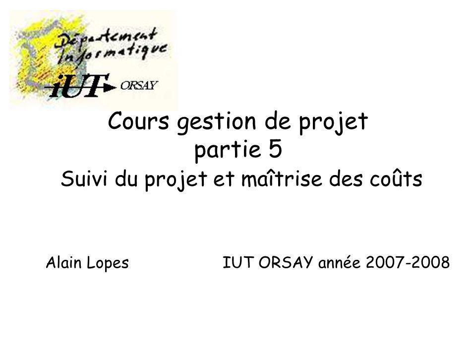Cours gestion de projet partie 5 Suivi du projet et maîtrise des coûts Alain Lopes IUT ORSAY année 2007-2008
