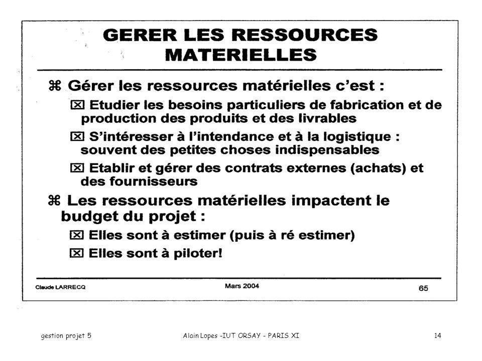 gestion projet 5Alain Lopes -IUT ORSAY - PARIS XI14