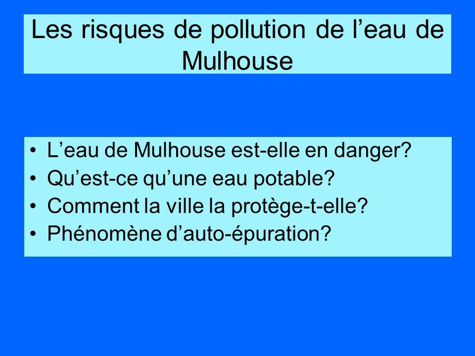 Les risques de pollution de leau de Mulhouse Leau de Mulhouse est-elle en danger? Quest-ce quune eau potable? Comment la ville la protège-t-elle? Phén