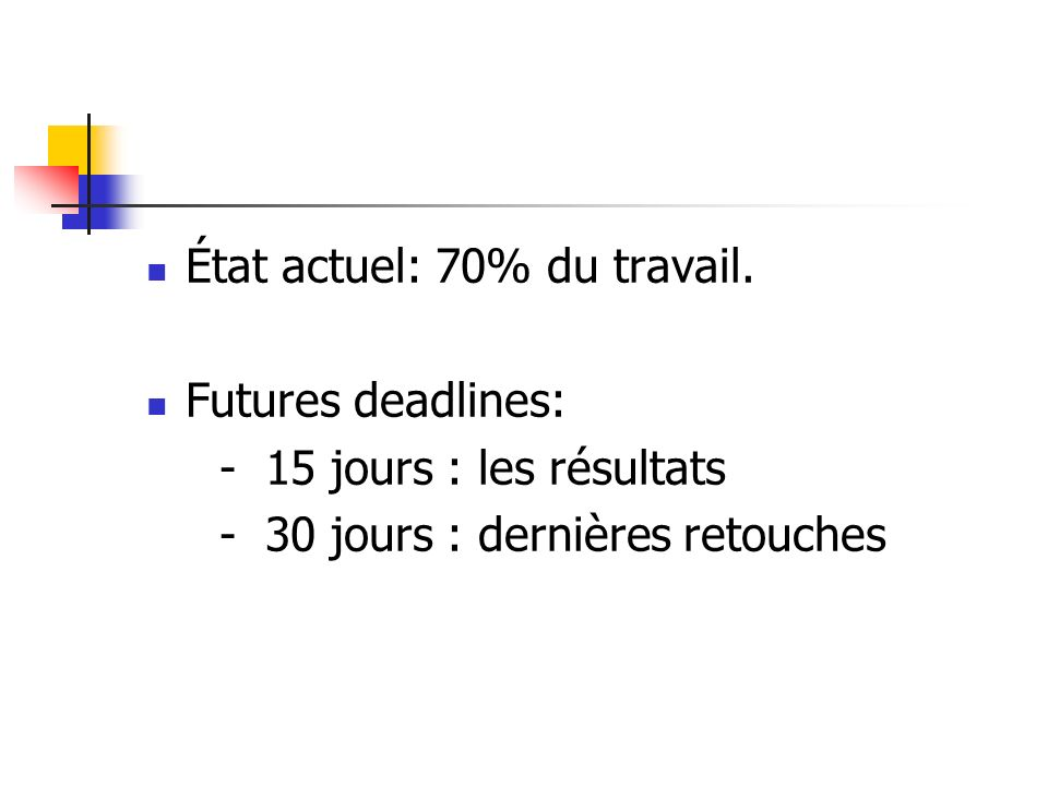 État actuel: 70% du travail. Futures deadlines: - 15 jours : les résultats - 30 jours : dernières retouches