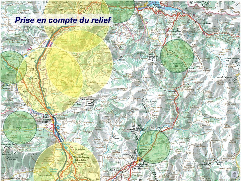 CNVV CNVV – mars 2006 Prise en compte du relief LFMX distance 50 km 0 25 km Dormillouse 2700 m Les Monges sécu. = 200m 3500 m Je passerai donc les Mon