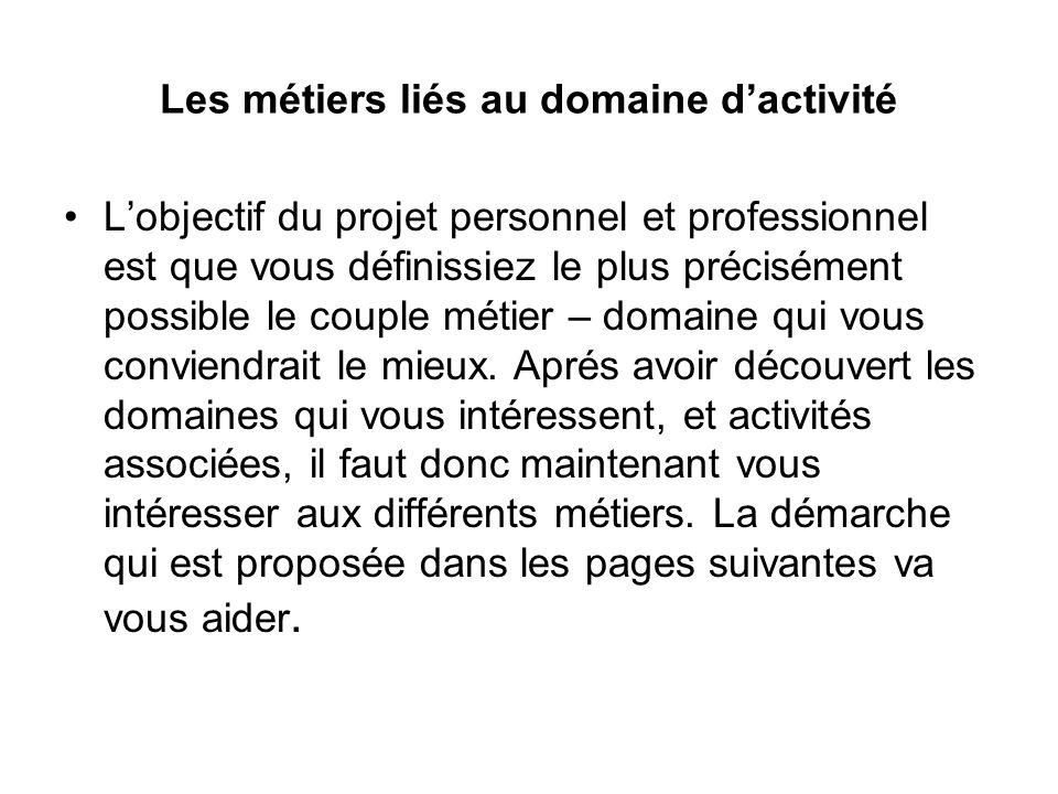 Les métiers liés au domaine dactivité Lobjectif du projet personnel et professionnel est que vous définissiez le plus précisément possible le couple m