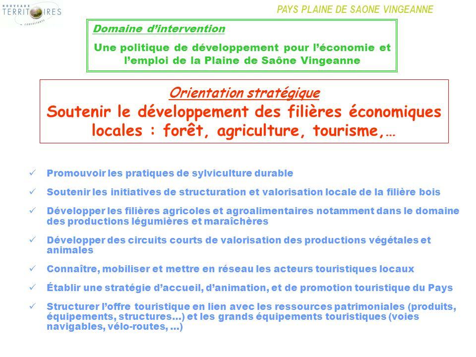 PAYS PLAINE DE SAONE VINGEANNE Promouvoir les pratiques de sylviculture durable Soutenir les initiatives de structuration et valorisation locale de la
