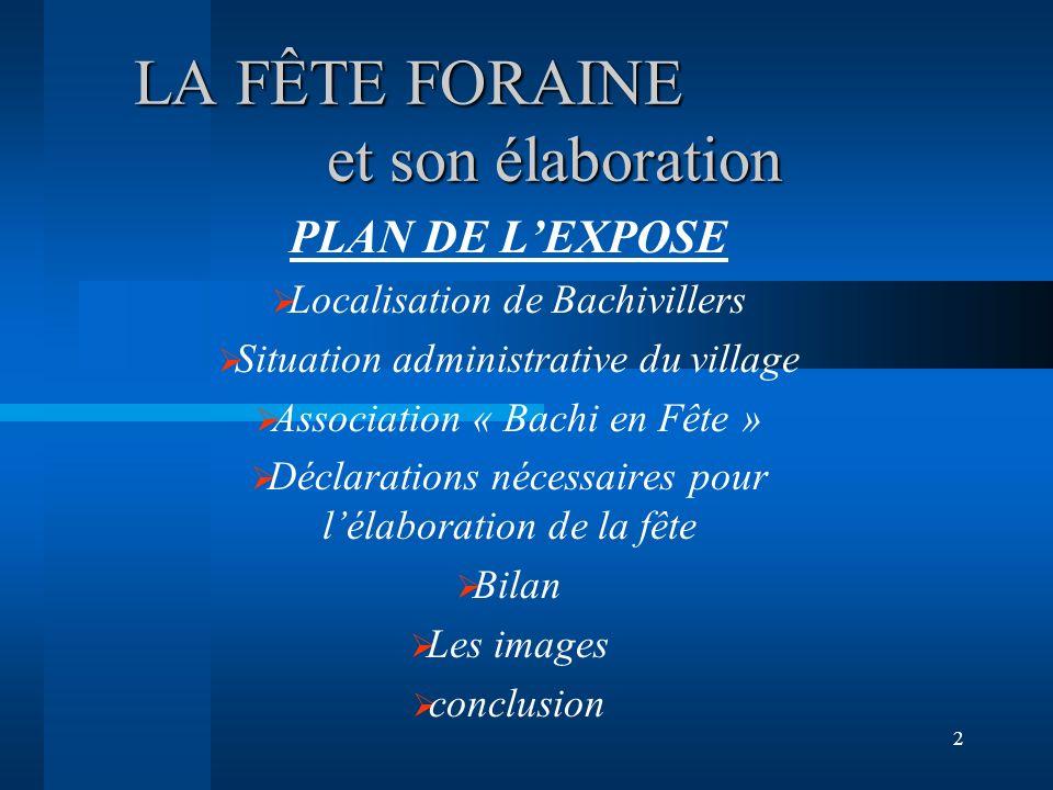 1 LA FÊTE FORAINE DANS UN PETIT VILLAGE DE PICARDIE. BACHIVILLERS Le 27 et 28 septembre 2003