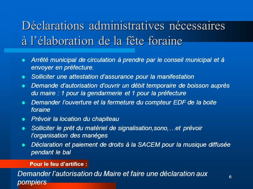 6 Déclarations administratives nécessaires à lélaboration de la fête foraine Arrêté municipal de circulation à prendre par le conseil municipal et à envoyer en préfecture.