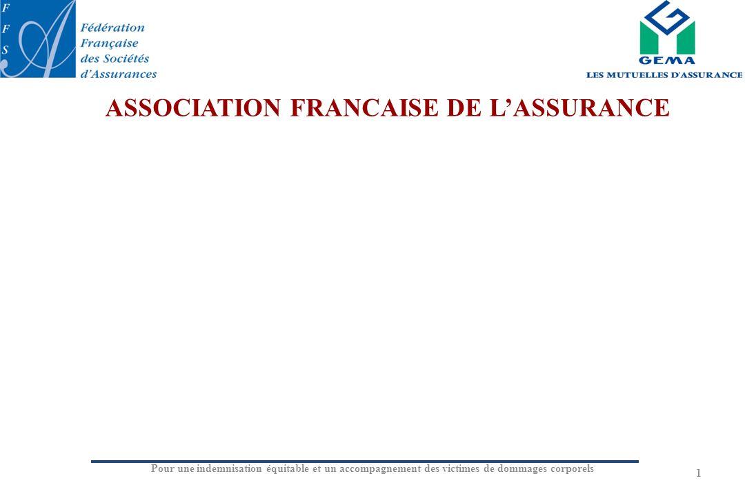 Pour une indemnisation équitable et un accompagnement des victimes de dommages corporels 1 ASSOCIATION FRANCAISE DE LASSURANCE