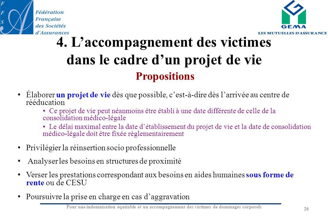 Pour une indemnisation équitable et un accompagnement des victimes de dommages corporels 4. Laccompagnement des victimes dans le cadre dun projet de v