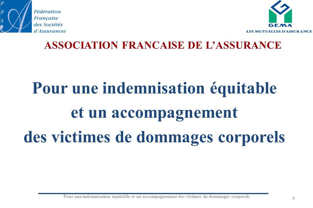 Pour une indemnisation équitable et un accompagnement des victimes de dommages corporels 3 ASSOCIATION FRANCAISE DE LASSURANCE
