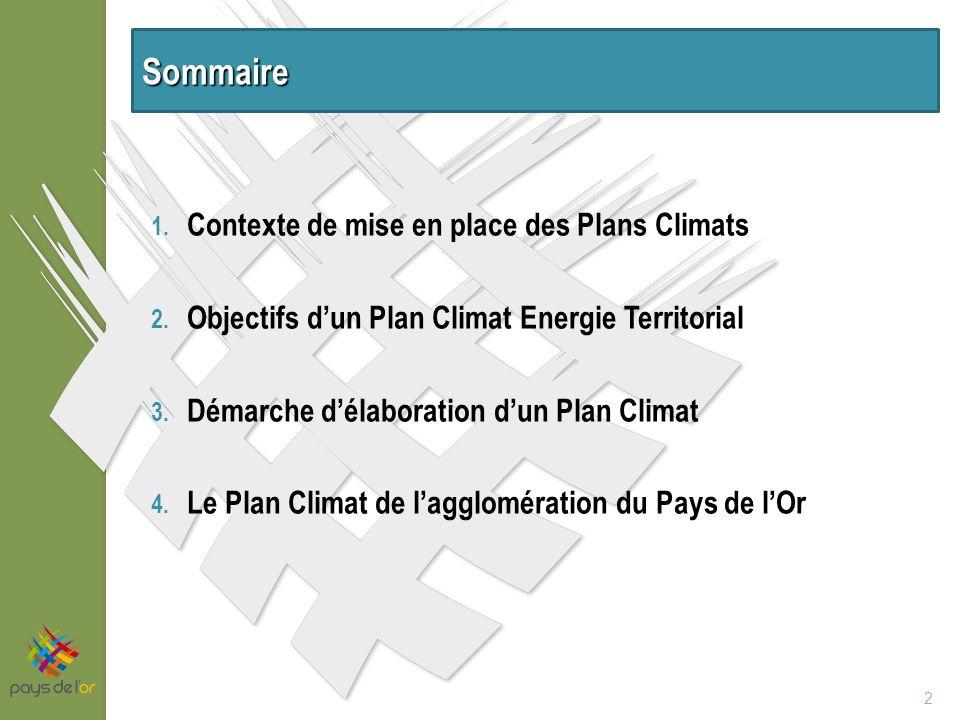 1. Contexte de mise en place des Plans Climats 2.