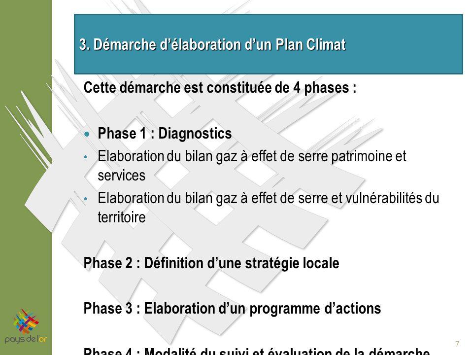 Cette démarche est constituée de 4 phases : Phase 1 : Diagnostics Elaboration du bilan gaz à effet de serre patrimoine et services Elaboration du bilan gaz à effet de serre et vulnérabilités du territoire Phase 2 : Définition dune stratégie locale Phase 3 : Elaboration dun programme dactions Phase 4 : Modalité du suivi et évaluation de la démarche 7 3.