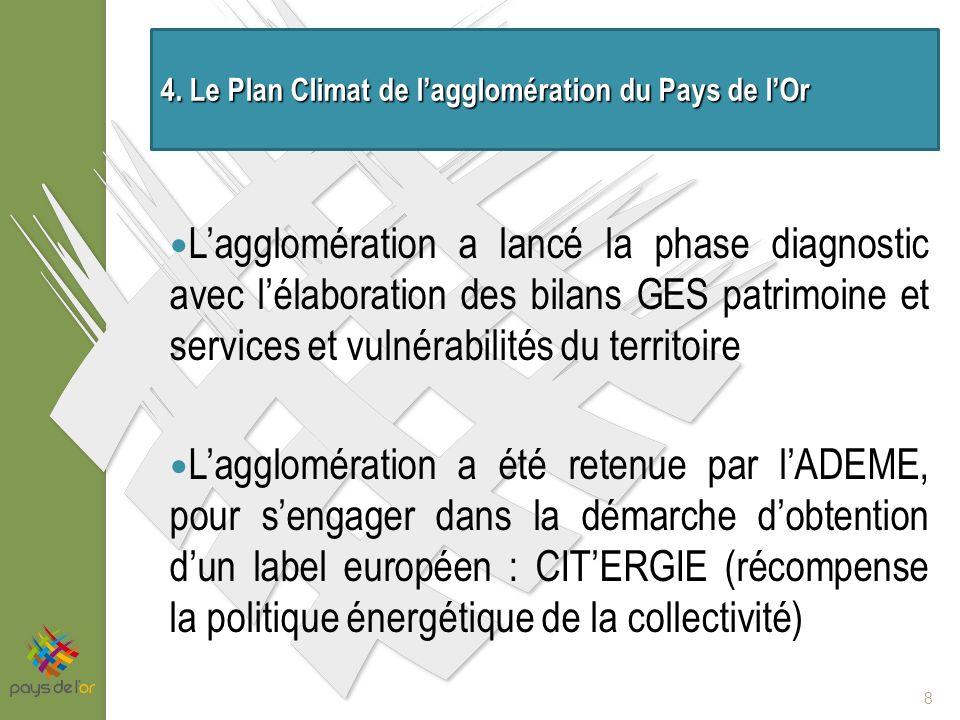 Lagglomération a lancé la phase diagnostic avec lélaboration des bilans GES patrimoine et services et vulnérabilités du territoire Lagglomération a été retenue par lADEME, pour sengager dans la démarche dobtention dun label européen : CITERGIE (récompense la politique énergétique de la collectivité) 8 4.