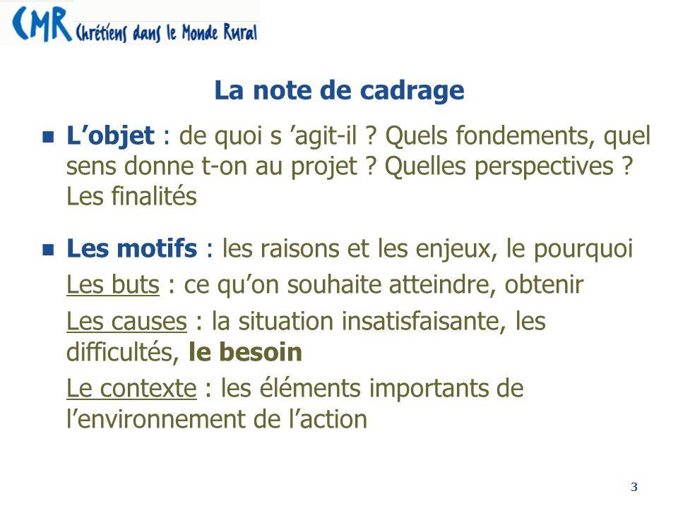 3 La note de cadrage Lobjet : de quoi s agit-il ? Quels fondements, quel sens donne t-on au projet ? Quelles perspectives ? Les finalités Les motifs :