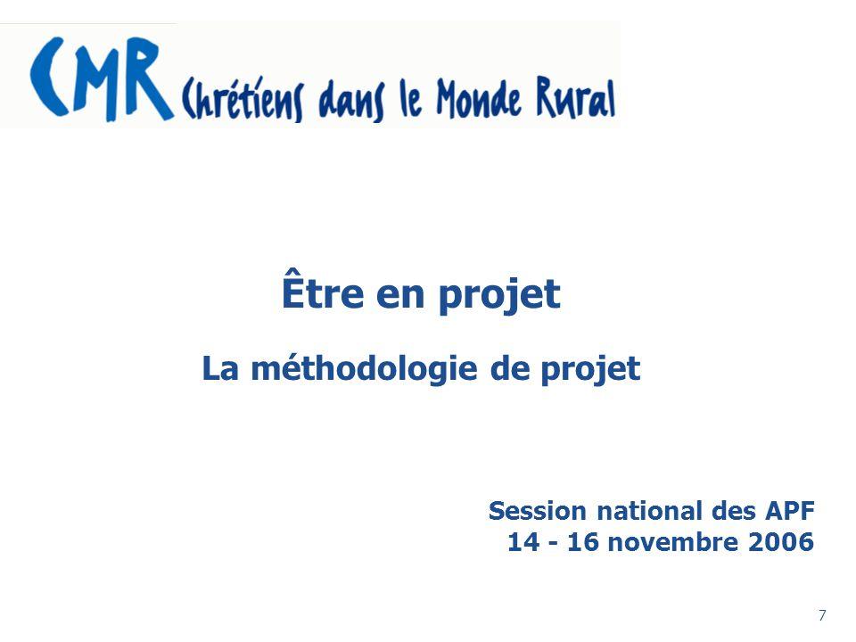 7 Être en projet La méthodologie de projet Session national des APF 14 - 16 novembre 2006