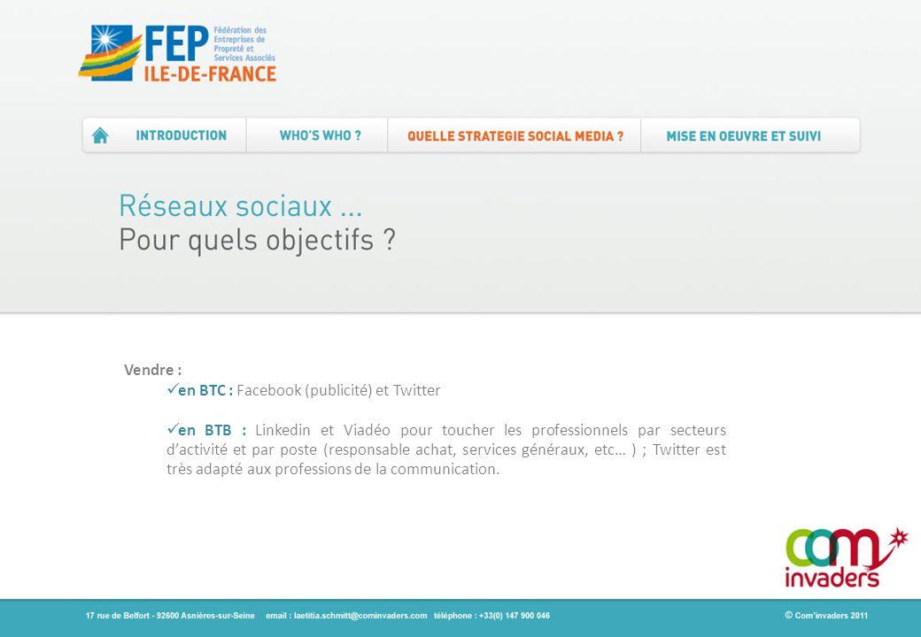 Vendre : en BTC : Facebook (publicité) et Twitter en BTB : Linkedin et Viadéo pour toucher les professionnels par secteurs dactivité et par poste (res