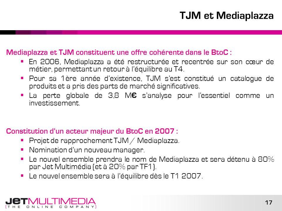 17 TJM et Mediaplazza Mediaplazza et TJM constituent une offre cohérente dans le BtoC : En 2006, Mediaplazza a été restructurée et recentrée sur son c