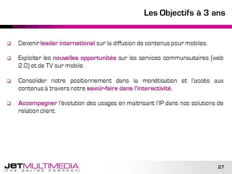27 Les Objectifs à 3 ans Devenir leader international sur la diffusion de contenus pour mobiles. Exploiter les nouvelles opportunités sur les services