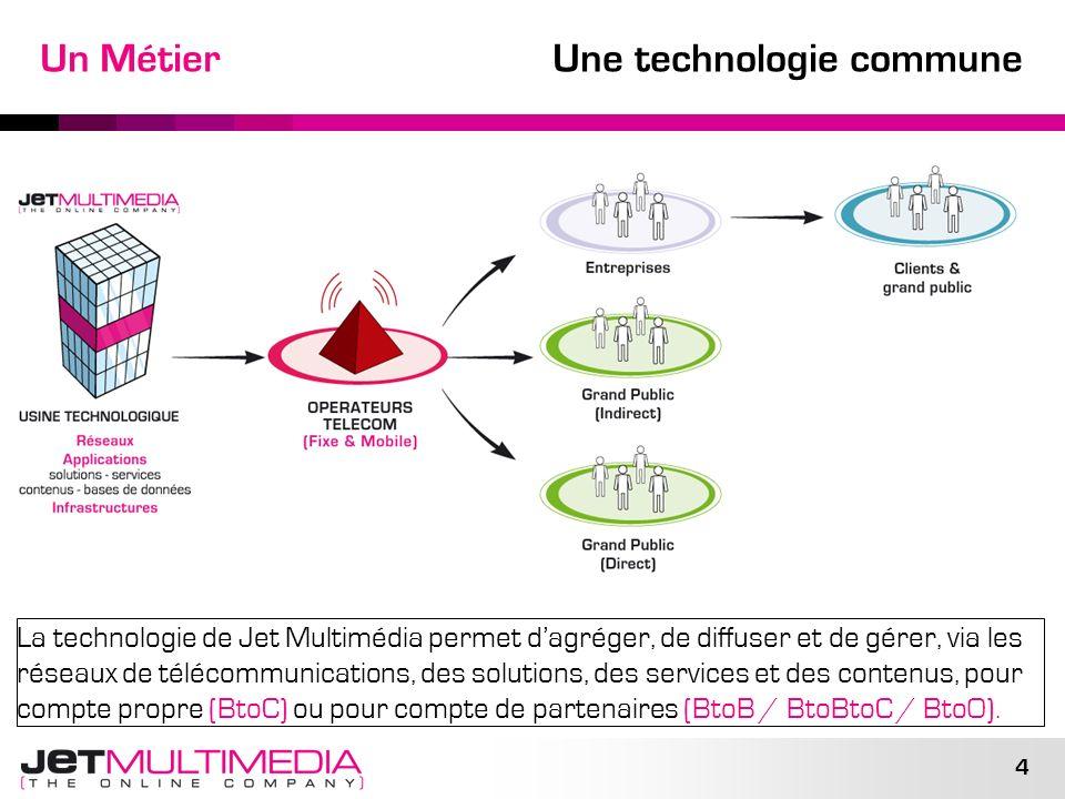4 Un Métier Une technologie commune La technologie de Jet Multimédia permet dagréger, de diffuser et de gérer, via les réseaux de télécommunications,