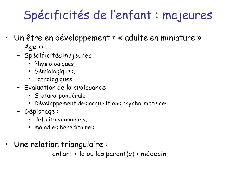 Spécificités de lenfant : majeures Un être en développement « adulte en miniature » –Age ++++ –Spécificités majeures Physiologiques, Sémiologiques, Pa