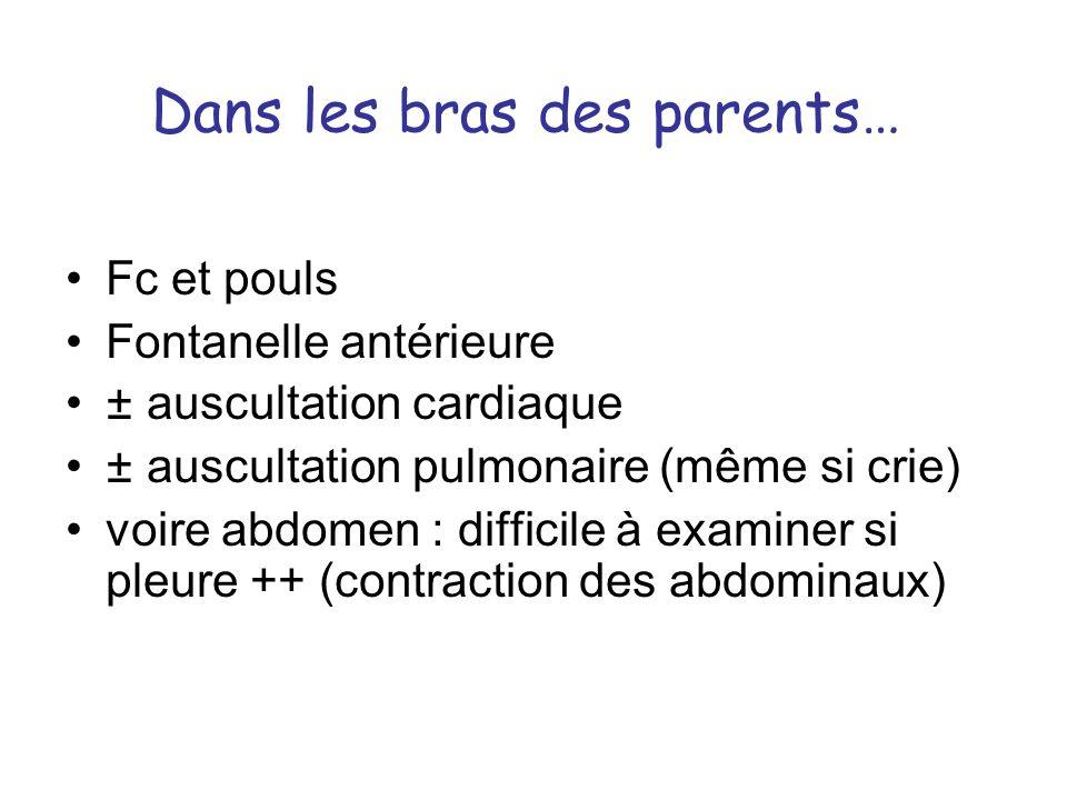 Dans les bras des parents… Fc et pouls Fontanelle antérieure ± auscultation cardiaque ± auscultation pulmonaire (même si crie) voire abdomen : diffici