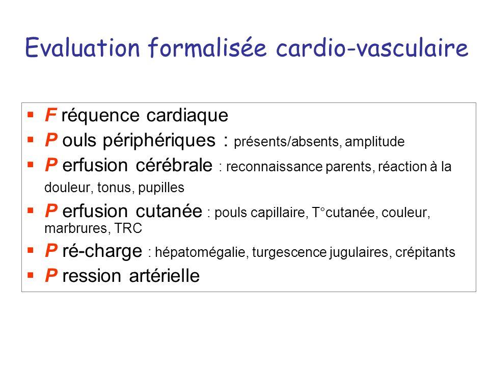 Evaluation formalisée cardio-vasculaire F réquence cardiaque P ouls périphériques : présents/absents, amplitude P erfusion cérébrale : reconnaissance