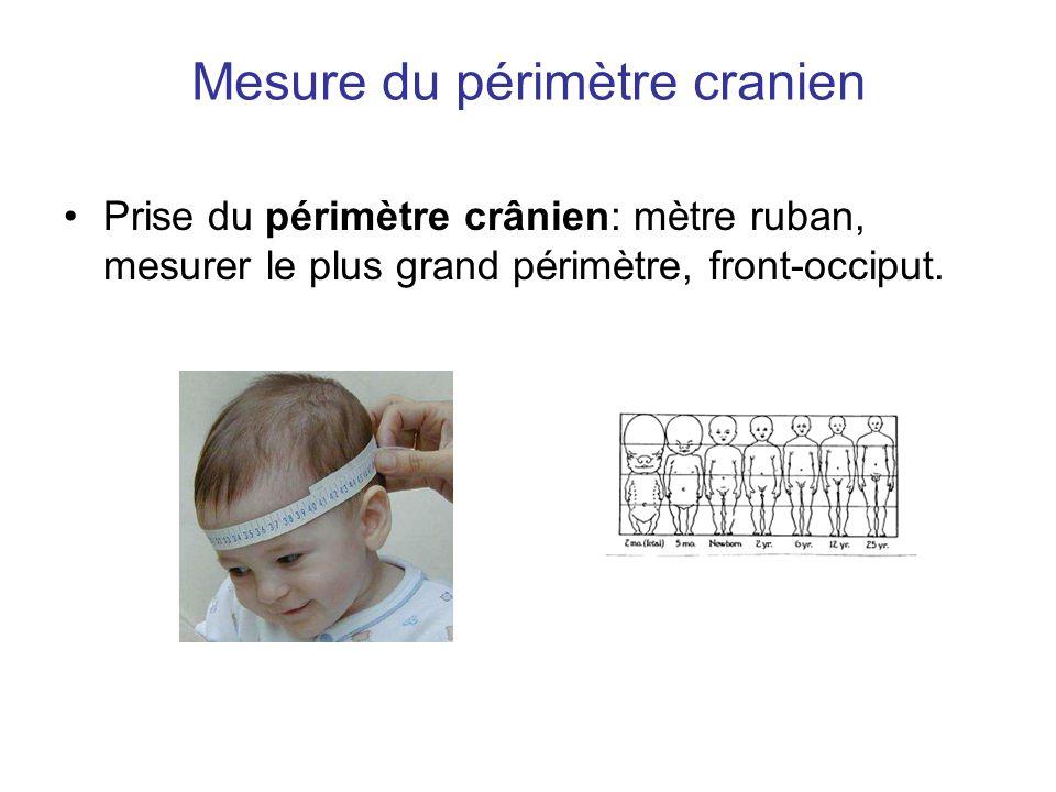 Mesure du périmètre cranien Prise du périmètre crânien: mètre ruban, mesurer le plus grand périmètre, front-occiput.