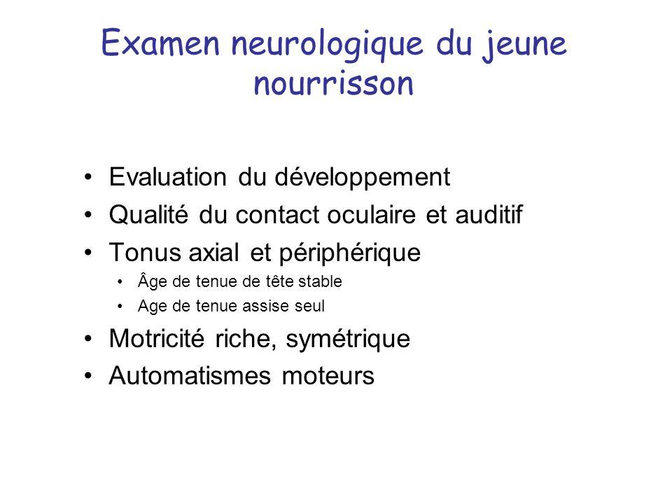 Examen neurologique du jeune nourrisson Evaluation du développement Qualité du contact oculaire et auditif Tonus axial et périphérique Âge de tenue de