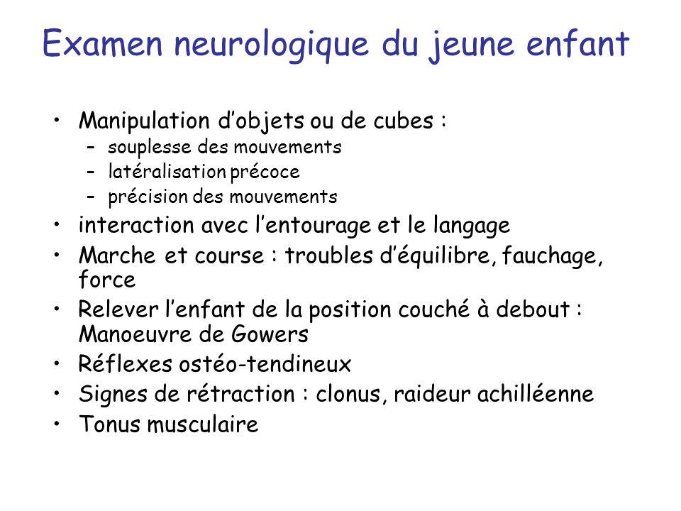 Examen neurologique du jeune enfant Manipulation dobjets ou de cubes : –souplesse des mouvements –latéralisation précoce –précision des mouvements int