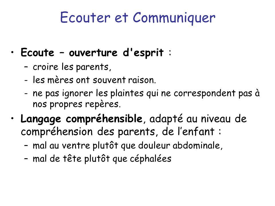 Ecouter et Communiquer Ecoute – ouverture d'esprit : –croire les parents, -les mères ont souvent raison. -ne pas ignorer les plaintes qui ne correspon