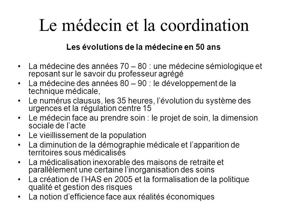 Le médecin et la coordination Les évolutions de la médecine en 50 ans La médecine des années 70 – 80 : une médecine sémiologique et reposant sur le sa