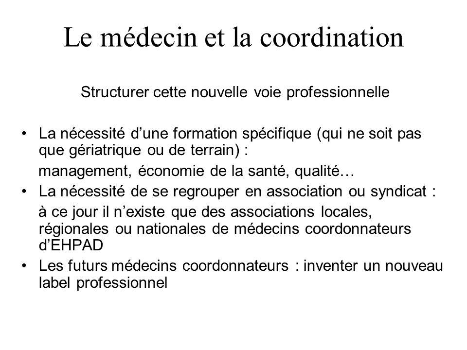 Le médecin et la coordination Structurer cette nouvelle voie professionnelle La nécessité dune formation spécifique (qui ne soit pas que gériatrique o