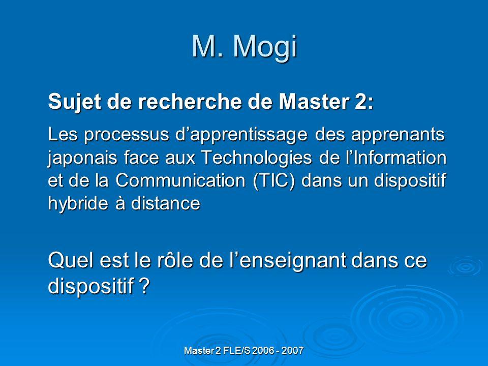 Master 2 FLE/S 2006 - 2007 M.
