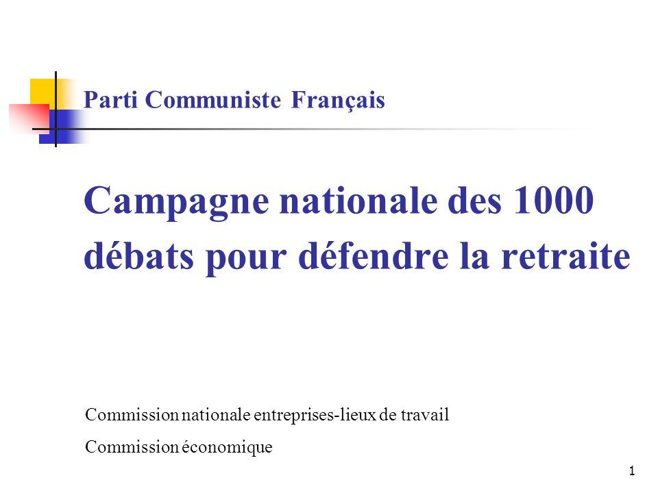 1 Parti Communiste Français Campagne nationale des 1000 débats pour défendre la retraite Commission nationale entreprises-lieux de travail Commission économique
