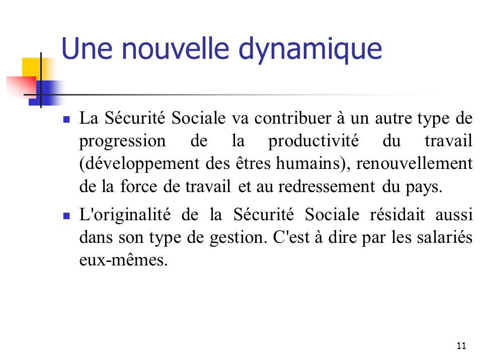 11 Une nouvelle dynamique La Sécurité Sociale va contribuer à un autre type de progression de la productivité du travail (développement des êtres humains), renouvellement de la force de travail et au redressement du pays.