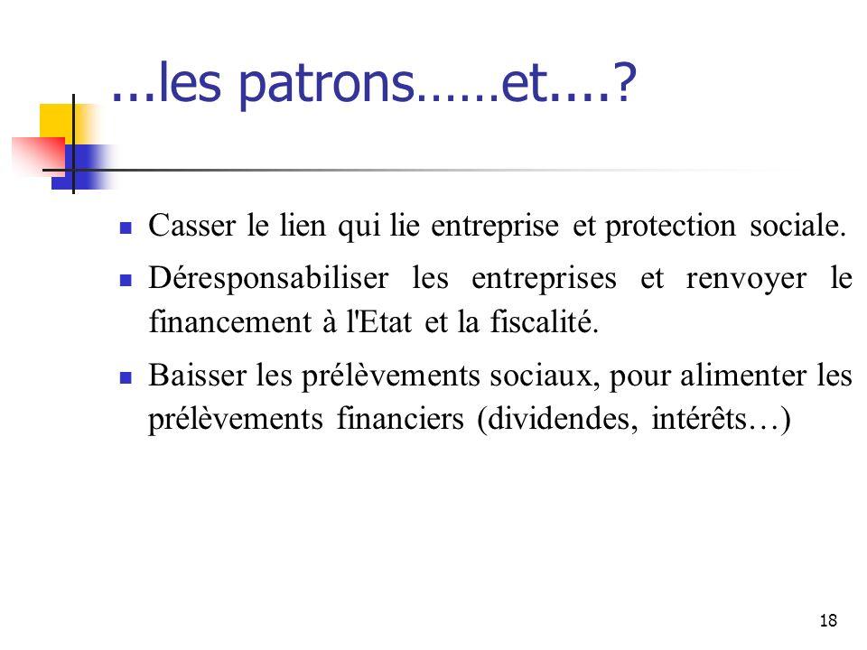 18...les patrons……et..... Casser le lien qui lie entreprise et protection sociale.
