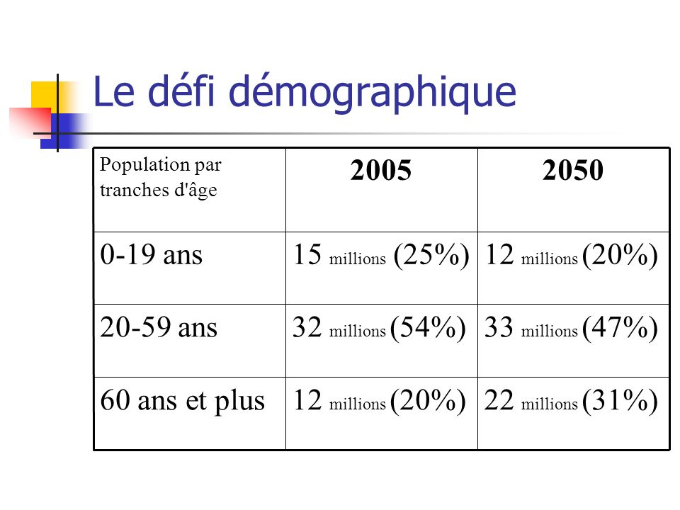 Le défi démographique 22 millions (31%)12 millions (20%)60 ans et plus 33 millions (47%)32 millions (54%)20-59 ans 12 millions (20%)15 millions (25%)0-19 ans 20502005 Population par tranches d âge