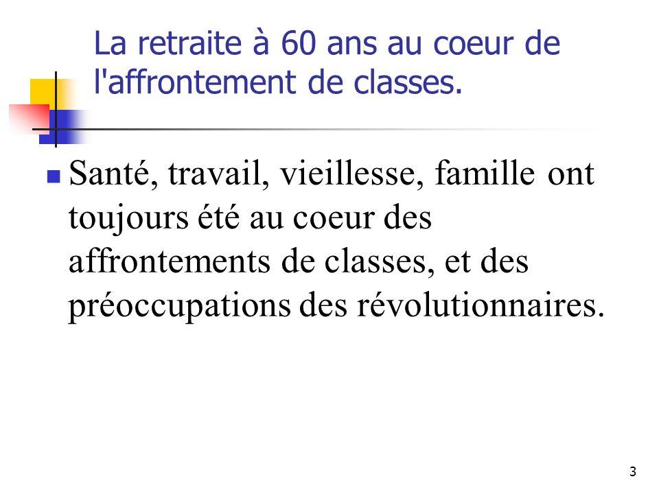 4 De la révolution à la résistance Déjà, les « Sans culottes » ont inscrit dans les tables de la constitution de 1793 le fameux article 31 sans doute l un des plus lumineux de toutes les constitutions françaises: le droit au travail et à la santé.