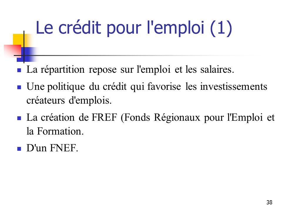 38 Le crédit pour l emploi (1) La répartition repose sur l emploi et les salaires.