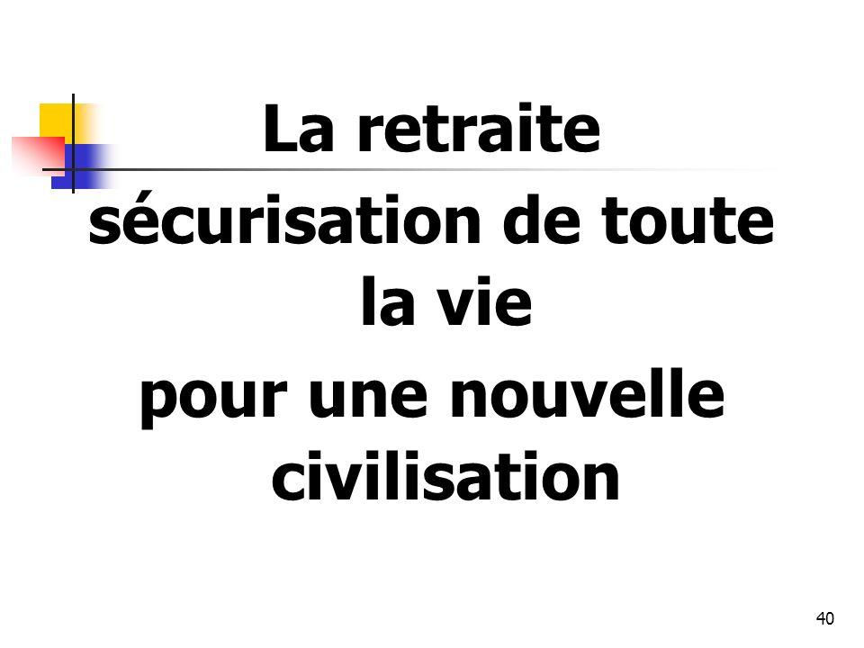 40 La retraite sécurisation de toute la vie pour une nouvelle civilisation