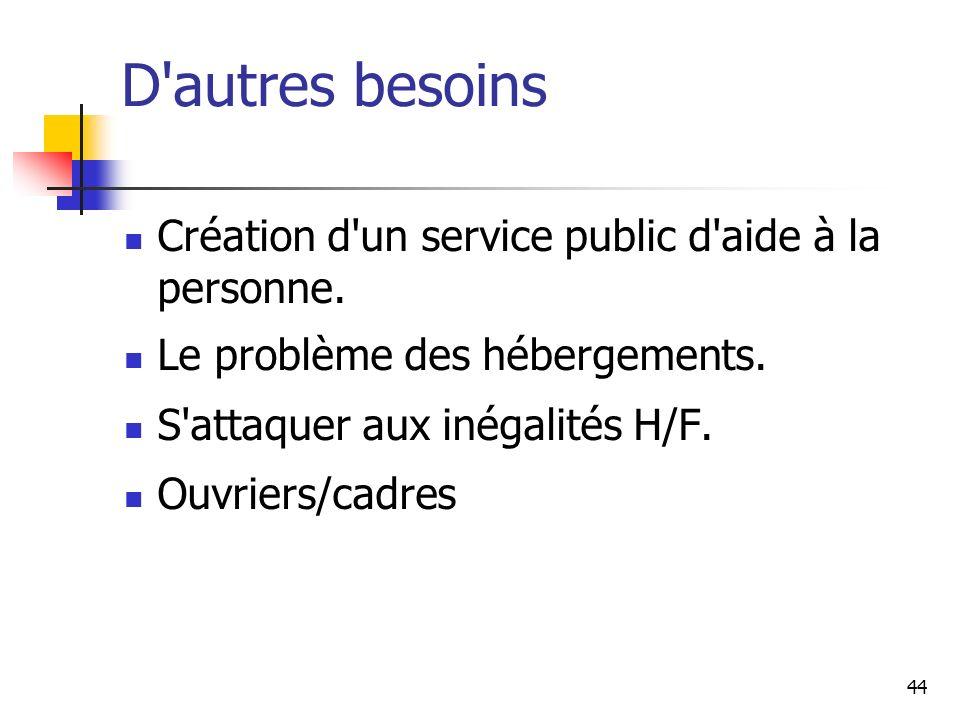 44 D autres besoins Création d un service public d aide à la personne.