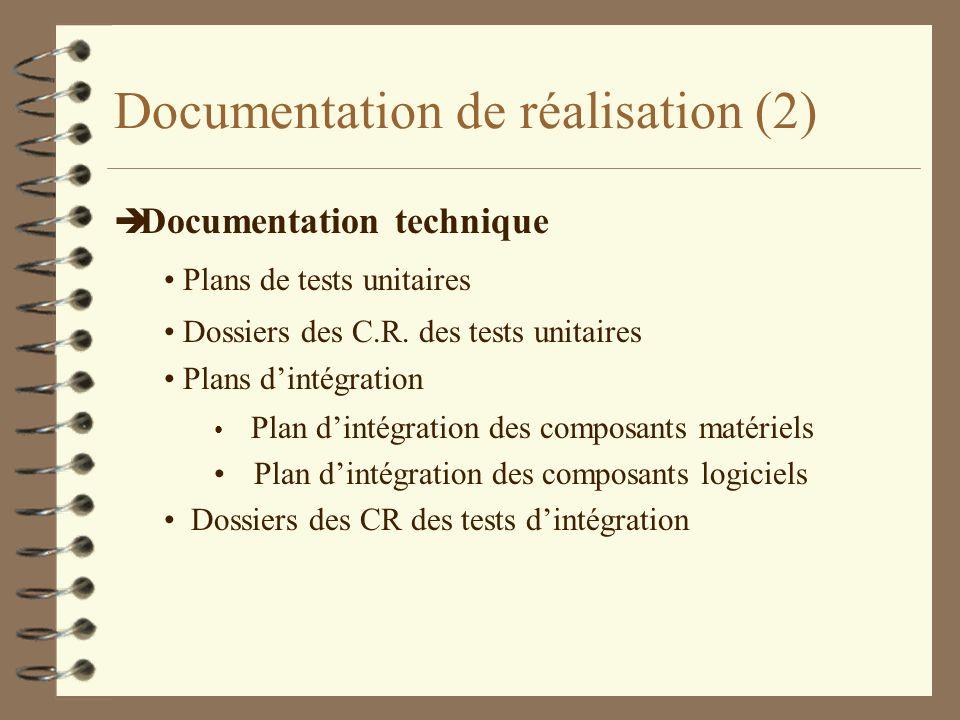 Documentation de réalisation (3) è Documentation technique Plan de validation (avec le maître dœuvre) Dossiers C.R.