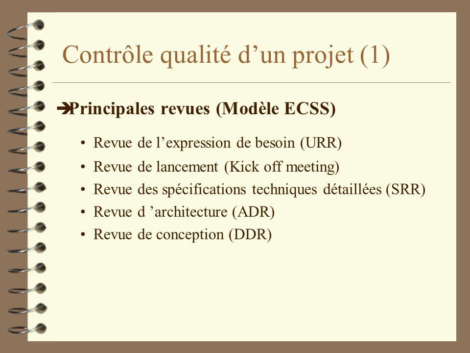 Contrôle qualité dun projet (2) è Principales revues Revue des tests unitaires (TRR-UT) Revue des tests d intégration (TRR-IT) Revue de validation (TRR-VT) Revue(s) de réception è Notion essentielle de data packages è Rôles des comités de revues