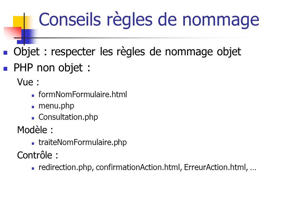 Conseils règles de nommage Objet : respecter les règles de nommage objet PHP non objet : Vue : formNomFormulaire.html menu.php Consultation.php Modèle